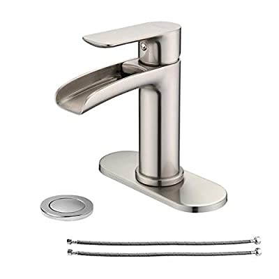 NEWATER Waterfall Brass Single Handle Bathroom Sink Faucet with Metal Pop-up Sink Drain Assembly & Faucet Supply Lines Vanity Faucet Mixer Tap One Hole Deck Mounted?Brushed Nickel