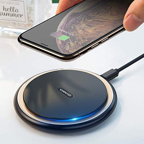 VANMASS 15W Qi Ladestation Fast Wireless Charger Upgrade Ladepad 10W/7.5W Induktions Ladegerät Kabellos Aluminium für alle Qi Geräte iPhone 11/X/XR/8 Samsung S20/S10/S9/S8/S7/Note10/9/8 Huawei P30 Pro
