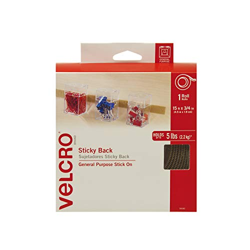 VELCRO Brand - Sticky Back Hook and Loop Fasteners – Peel and Stick Permanent Adhesive Tape Keeps Classrooms, Home, and Offices Organized – Cut-to-Length Roll | 15ft x 3/4in Tape | Beige