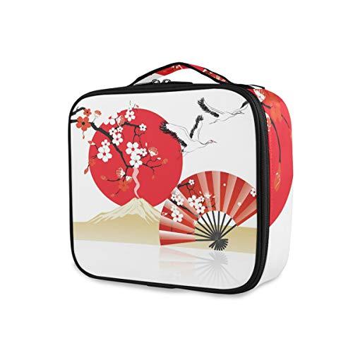 Reise Brieftasche Kunst japanischen Stil Kirschblume Kran Fan Tools Kosmetik Zug Fall Kulturbeutel Tragbare Aufbewahrung Make-up-Tasche
