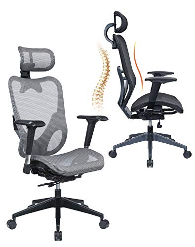 Mesh3 Hyper GTR Ergonomic Office Chair Premium Mesh Seat with Back Support Gaming Chair Fully Adjustable Headrest, Backrest and 4D Armrests for Great Posture BIFMA Grey Color HY-105GR