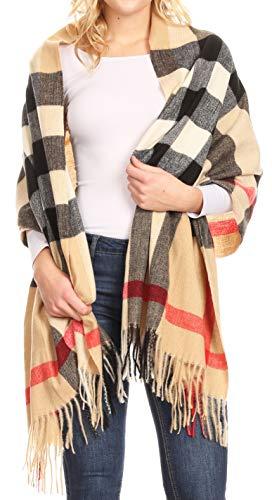 Sakkas 18206 - Écharpe châle à motif super doux et léger hiver chaud pour femmes de Martinna - Camel/multi - OS