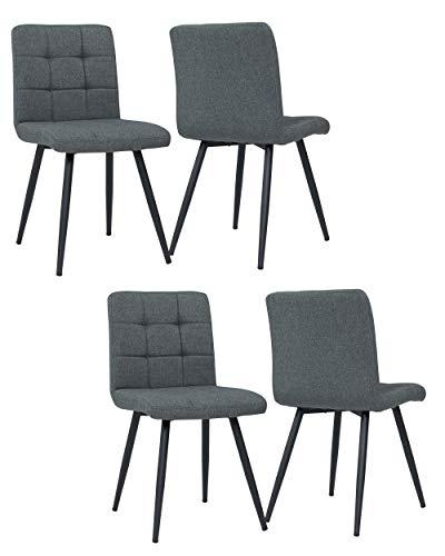 4er Set Esszimmerstuhl aus Stoff Samt Farbauswahl Stuhl Retro Design Polsterstuhl mit Rückenlehne Metallbeine Duhome 8043B, Farbe:Grau, Material:Stoff