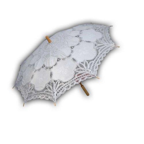 Zoelibat 97014842.001 - Stoff Schirm Barockschirm mit Holzstiel und Metallgestänge - Durchmesser/Spannweite 70 cm, weiß