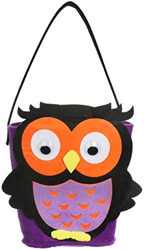 com-four® Halloween Tasche - Beutel zum Sammeln von Süßigkeiten an Halloween - Sammeltasche mit Eulen-Motiv (Eule - 1 Stück)