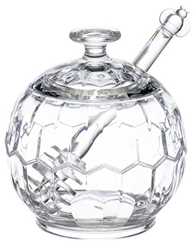 KLIFA- HONEYCOMB Series, Acrylic Honey Jar Syrup Pot with Dipper and Lid, Clear, 10.15 oz,
