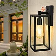 CINOTON Outdoor Wall Sconce Dusk to Dawn Photocell, IP65 Waterproof Outdoor Light Fixtures Wall Mount, Outdoor Wall Lantern with Clear Glass Shade, E26 Socket Exterior Wall Lamp for Garage, Doorway