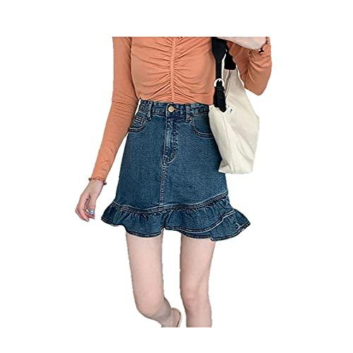 N\P Falda de mezclilla con volantes para mujer y nalgas delgadas de una línea delgada