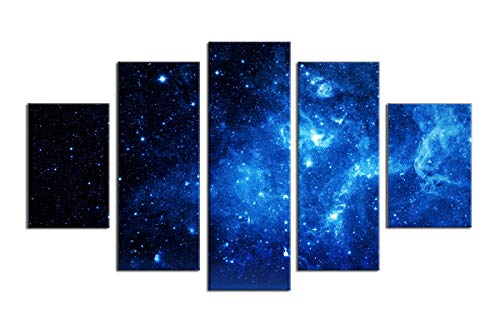 Price comparison product image PulsatingFingertip-5 Panel Beautiful Starry Sky Modern Giclee Canvas Prints Blue Stars Canvas Oil Painting Wall Art for Home and Office Decorations No Frame