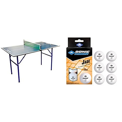 Schildkröt Tischtennis-Minitisch Midi XL, 120 x 70 x 68 cm, perfekt für den kleinen Garten & Donic-Schildkröt Unisex– Erwachsene Tischtennisball Jade, Poly 40+ Qualität, 6 STK. im Blister, 6X weiß