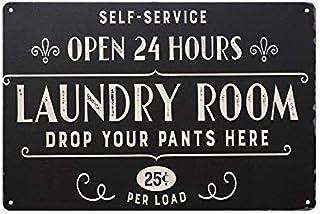 TLNPU Panneau en métal « Open 24 Hours » - Style rétro - 20 x 30 cm - Pour la maison, la salle de bain, la buanderie