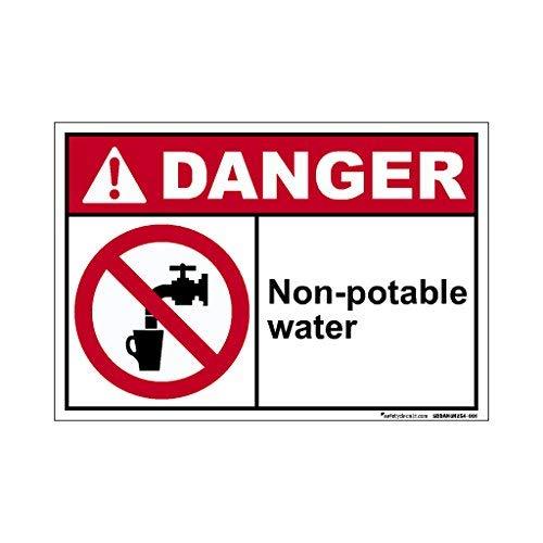 Danger - Señal de Agua no Potable con Texto en inglés Wanring for Hazard, Vinilo Adhesivo de Seguridad de 17,8 x 25,4 cm
