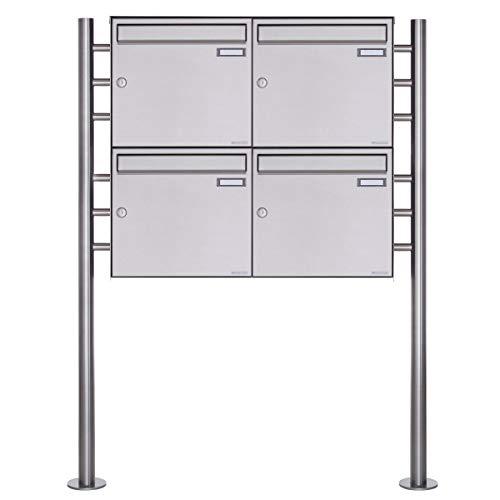 4er Standbriefkasten - 4 fach Briefkastenanlage Design BASIC 381 - Briefkasten Manufaktur Lippe (4 Parteien, Edelstahl)