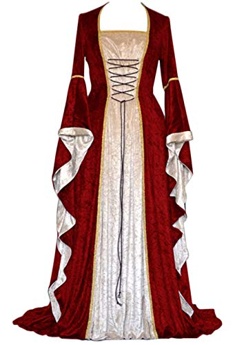 YEAXLUD Womens Renaissance Medieval Costume Dress Lace up Irish Over Long Dresses Cosplay Retro Gown S-5XL (XL, Wine Red)