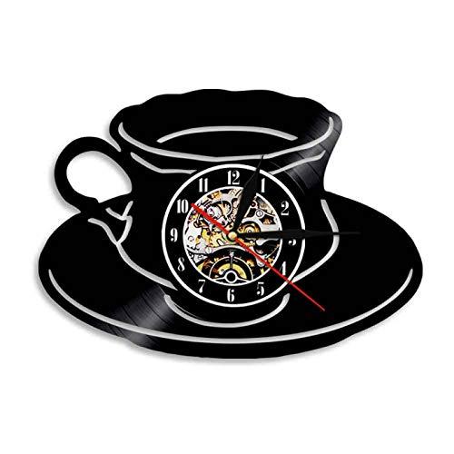 hxjie Cocina Oficina Decoración de Pared Reloj de café Taza de té Reloj de Pared Disco de Vinilo Arte Moderno Reloj de Pared Regalo de Amante del café Sin LED