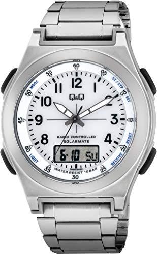 [シチズン Q&Q] 腕時計 アナログ 電波 ソーラー 防水 日付 表示 メタルバンド 白 文字盤 MD10-204 メンズ シルバー