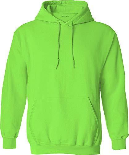Joe's USA Hoodies - Mens Hooded Sweatshirts-Neon.Green-M