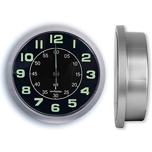Reloj de pared de diseño con compartimento secreto [caja fuerte, caja de joyas] – Radio controlada – Números grandes – 24 cm – gris y negro