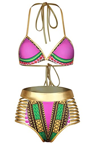 Sundray Pink African Tribal Printed 2PCS Bikini Sets Metallic Cutout Beachwear for Women S