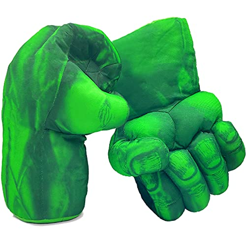 Superhero Hands for Kids, Superhero Boxing Gloves Smash Fists Soft Plush Toys Cosplay Costumes Accessories for Boys Girls Christmas Halloween Birthday Gift (1 Pair, Green)