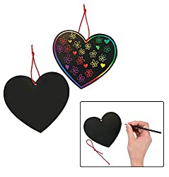 Easy Valentine's Day Girl Scout crafts Magic Color Scratch Hearts includes 24 Pieces