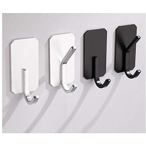 4 unids espacio de aluminio negro blanco gancho doble gancho doble montaje de pared multifuncional punzonado fácil instalación gancho de capa-C5 simple y elegante combina con el estilo moderno