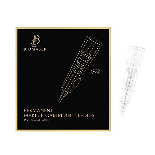 Biomaser Tattoo Aguja 10pcs Esteriliza Permanente de Maquillaje Tinta Agujas Apto para Permanente de Maquillaje Lápiz Máquina T100 P1 X1 para Ceja Eyeliner Lip Contour