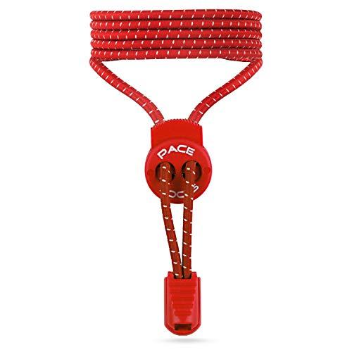 ALPHAPACE Pace Locks Elastische Schnürsenkel, Schuhbänder ohne Schnüren, Slip-on Schnellverschluss für Sport, Jugend & ältere Menschen, 120 cm, 1-Paar in Rot