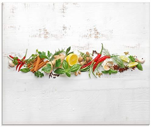 Artland Küchenrückwand Glas mit Motiv Spritzschutz Küche 60x50 cm Kräuter Essen Lebensmittel Chili Gewürze Chilischote Peperoni U1RK