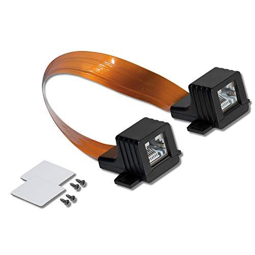RJ45 Fensterdurchführung Flach - Netzwerkkabel Klebepads + Schrauben rj 45 Buchse Netzwerk Kabel LAN Patchkabel Ethernet Flachkabel für Fenster und Tür ohne Bohren Ultra Slim (1x, Fensterdurchführung)