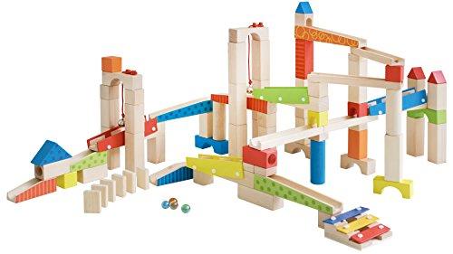 roba Kugelbahn, Holzkugelbahn groß, 100-teilig, Murmelbahn Bausatz inklusive Bausteinen mit Geräscheffekten und Glasmurmeln, Motorikspielzeug variabel aufbaubar