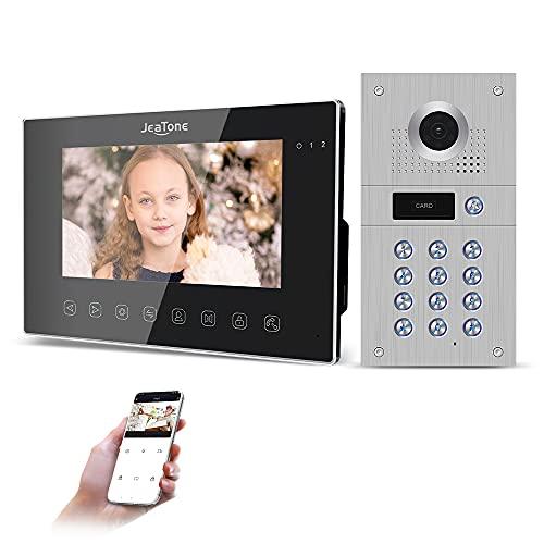 JeaTone Sistema de interfono inteligente con WiFi, monitor AHD de 7 pulgadas con cable de 960P, cámara de visión de 170°, 4 en 1 Tuya Smart APP/contraseña/tarjeta RFID y desbloqueo del monitor
