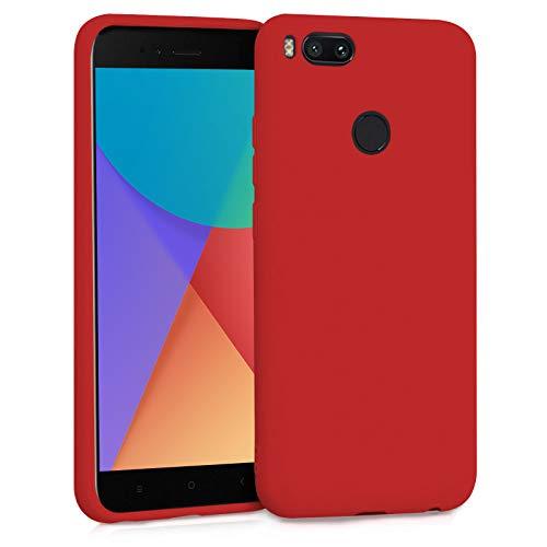TBOC Funda para Xiaomi Mi A1 - Mi 5X- Carcasa Rígida [Roja] Silicona Líquida Premium [Tacto Suave] Forro Interior Microfibra [Protege la Cámara] Antideslizante Resistente Suciedad Arañazos