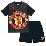 Manchester United FC - Pijama corto para niño - Producto oficial - Negro - 10-11 años