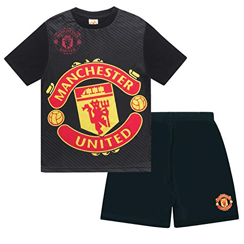 Manchester United FC Official Boys Sublimation Short Pyjamas Black 8-9 Years