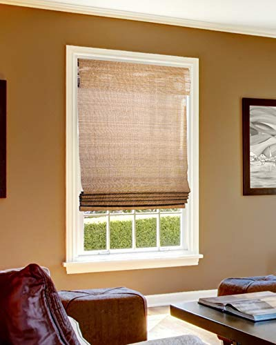 CHICOLOGY Cordless Bamboo Roman Shades, Light Filtering Window Treatment Perfect Resort Feel for Living Dining Room/Bedroom and More, 35'W X 64'H, Acorn