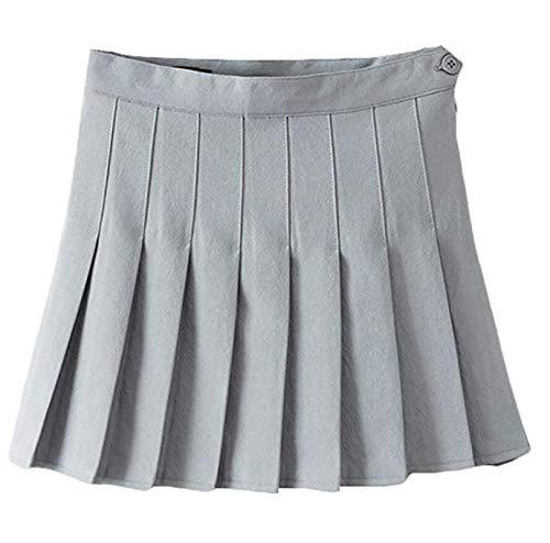 Kilt Rock Coole Kurze Röcke Schuluniformen Hohe Taille A-Linie Frauen Faltenrock Süße Mädchen Tanzrock Mit Sicherheitshose Minirock M Grau