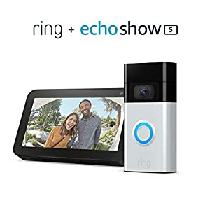 Ring Video Doorbell - Satin Nickel bundle with Echo Show 5 - Charcoal