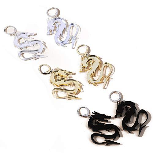 Acrylic Chinese Dragon Hoop Earrings Cool Punk Dragon Earrings Trendy Animal Totem Dangle Earrings for Women Girls Jewelry(D)