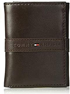 Tommy Hilfiger Men's Slim Leather Wallet with Removable Card Holder, Brown, One Size