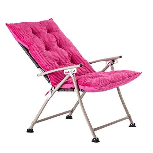 LANA Chaise lazy créative, chaise d'ordinateur à la maison, chaise pliante, inclinable de balcon de chambre à coucher moderne simple, fauteuil (Couleur : Rose rouge)