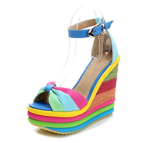 MIAOFA Sandalias de cuña para Mujer Sandalias arcoíris de Cuerda de cáñamo para Mujer con Suela de Goma Diseño de Correa para el Tobillo Zapatillas de Punta Abierta