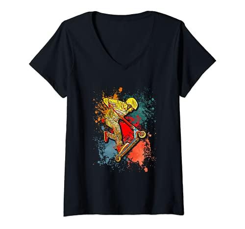 Mujer Patinete Stunt Scooter Kick Jump Camiseta Cuello V