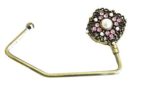 Dames Diamante Handtas Tafel Hangende Haak - Dames Kerstcadeau Idee voor Haar Gouden Toon & Roze Kristal