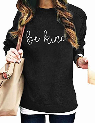 Dresswel Damen Be Kind Pullover Sweatshirt Langarmshirt Oberteile Langarm Pulli Jumper Bluse Tops