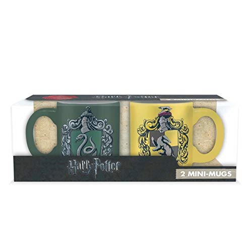 ABYstyle -HARRY POTTER - Set 2 mini-Tazas - 110 ml - Slytherin y Hufflepuff