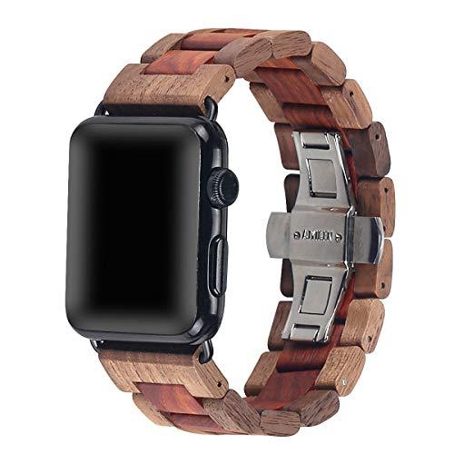 AIYIBEN Cinturino da orologio in legno 42mm/44mm con fibbia a farfalla in acciaio inox compatibile per iWatch Series 1 2 3 4 5(Walnut red sandalwood)