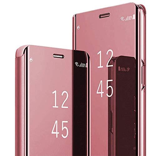 INCKOLEE Funda para Samsung Galaxy J7 2017 con efecto espejo, funda de piel con tapa y función atril, color oro rosa