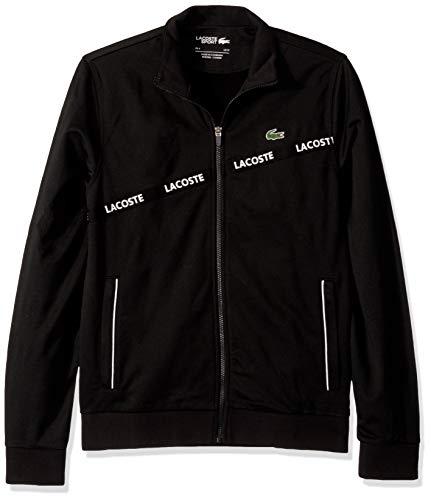 Lacoste Mens Sport Long Sleeve Lacoste Word Tape Tricot Jacket Sweatshirt, Black/Black/Black, L