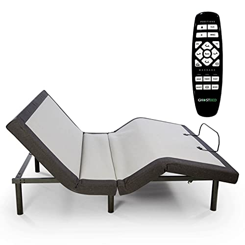 GhostBed Adjustable Bed Frame & Power Base with Wireless Remote, Zero Gravity & Massage Settings, USB Ports, Queen